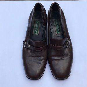 Cole Haan Leather Loafer Block Heel Buckle Detail